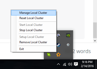Manage local cluster