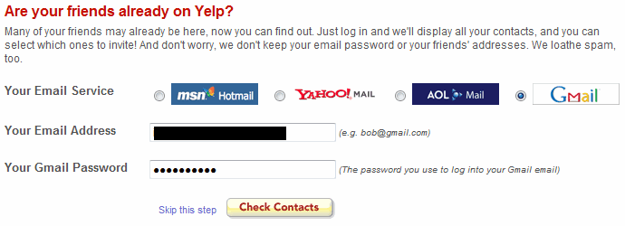 Example of Yelp before Spring Security 5 OAuth2