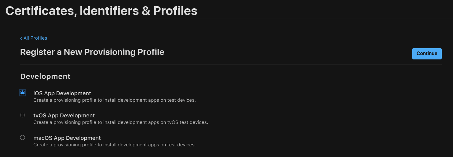 Create a Provisioning Profile for the Application
