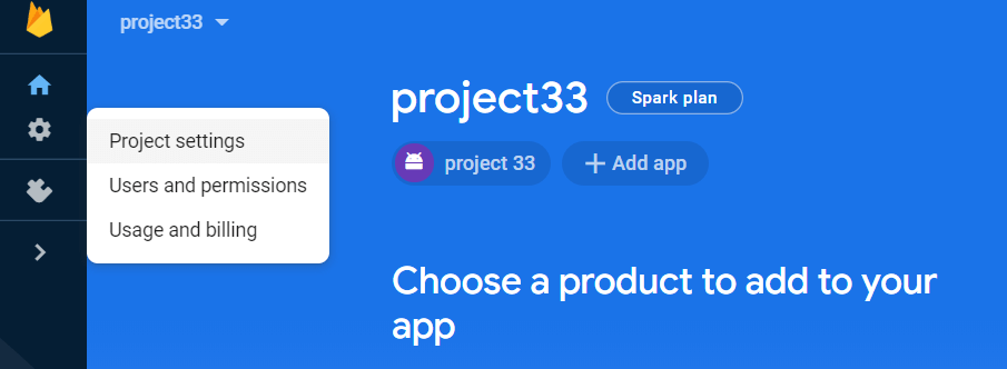 Choose a product to add to your app