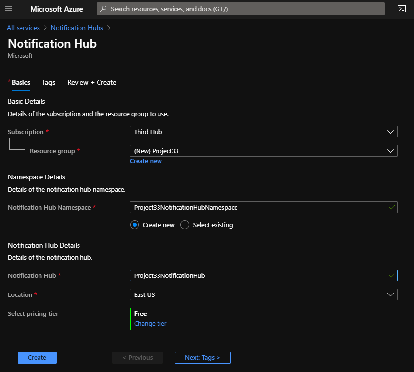 Create a Notification Hub with Azure