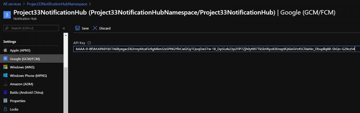 Set up Push Notification Services and Azure Notification Hub