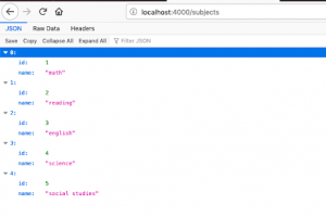 JSON Server home page on Firefox